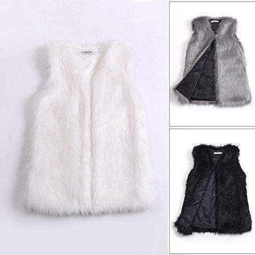 Largo de Mujer Pelo Mujer Samber para Sintético Chaqueta Abrigos Medio de Invierno Zorra Chaleco Negro Pelo 1qq75