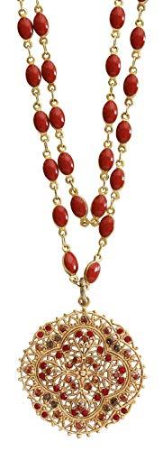 Catherine Popesco Goldtone Filigree Medallion Beaded Enamel Crystal Necklace, 21