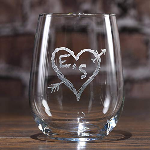 - Etched Stemless Wine Glasses, Personalized Wine Lover Gift Ideas, SET OF 2 (m53less)