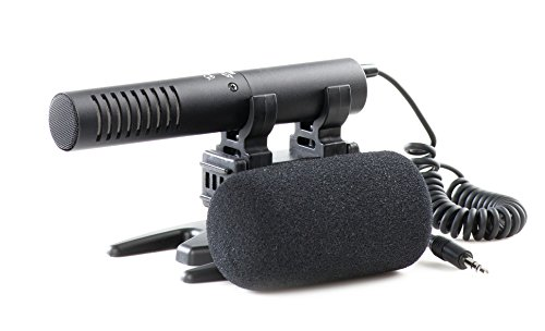 Azden SMX-20 Compact High-Performance Directional Stereo mic with stereo mini-plug output cable, windscreen and shock-mount holder by Azden