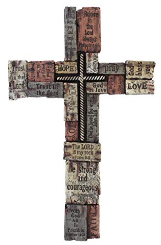 Rainbow Wholesale Inc Large Wall Cross with Inspirational Sayings/Scripture, Faux Wood Texture & Iron Cross Center ()