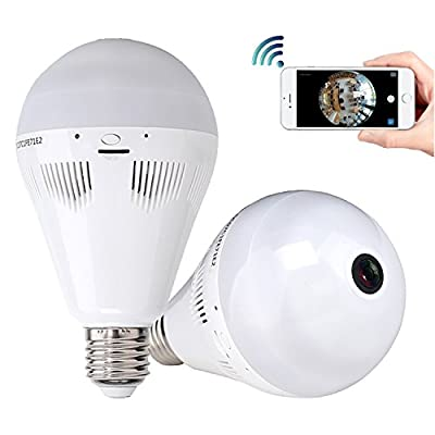 Home Security Camera System, 960P HD Wireless IP Camera Light Bulb 360 Degree Fisheye Panoramic IR Night Vision Pet Baby Monitor