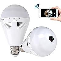 Home Security Camera System, 960P HD Wireless IP Camera Light Bulb 360 Degree Fisheye Panoramic IR Night Vision Pet Baby Monitor
