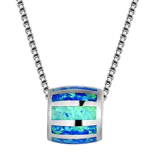 OMZBM Elegant Round Barrel Shaped Fire Opal Pendant Necklace,925 Sterling Silver White Gold Plated High Polishing Ladies Extended Adjustable Necklace Chain,Blue