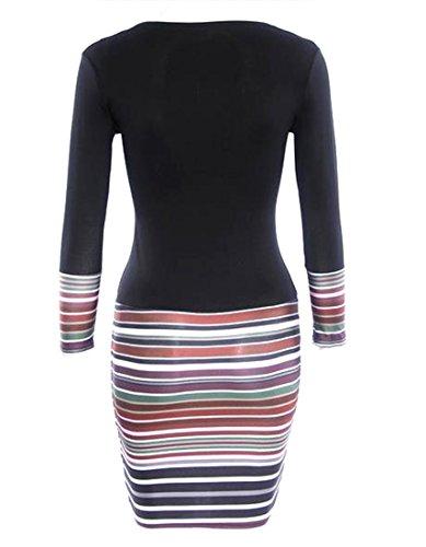 Cruiize Couleur De Contraste À Manches Longues Des Femmes V-cou Clubwear Mini-robe Noire