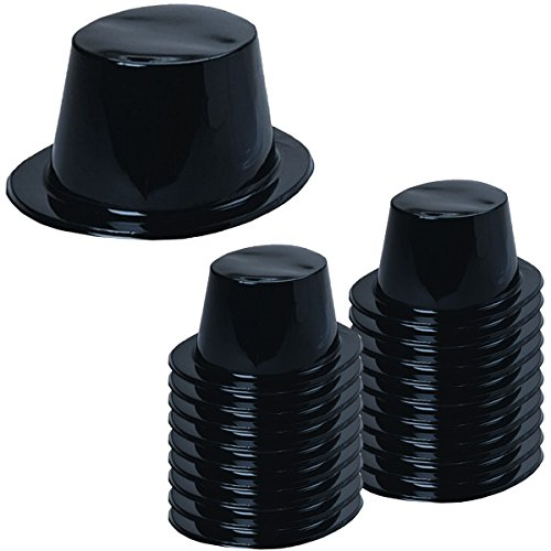 1980's Plastic Halloween Costumes (Plastic Top Hats - Magician Hats Bulk Black top Hats - Magician Party Supplies by Tigerdoe (20 pack))
