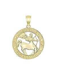 14k Yellow Gold Zodiac Sun Sign Symbol Pendant