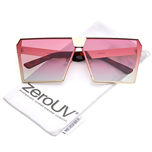 zeroUV - Modern Oversize Semi Rimless Gradient Color Flat Lens Square Sunglasses 69mm (Gold / Pink - Affordable Sunglasses