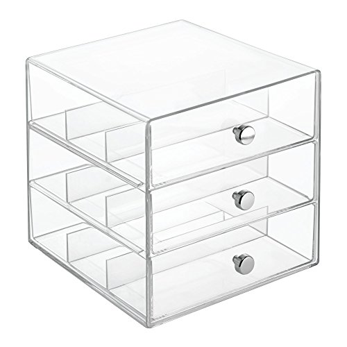 InterDesign 35330 Clarity Stackable Organizer Holder for Eyeglasses, Sunglasses, Reading Glasses - 3 Drawer, Clear