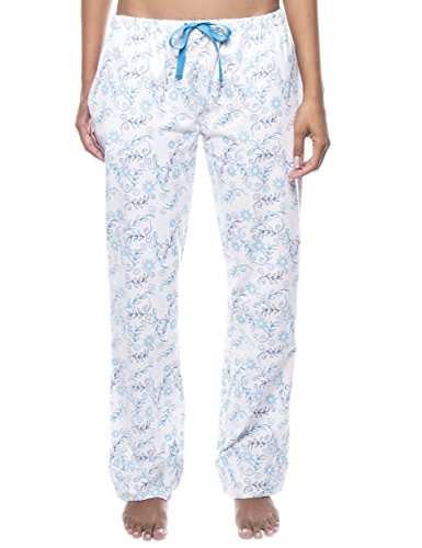 Noble Mount Women's Cotton Flannel Lounge Pants - Floral White/Blue - Large