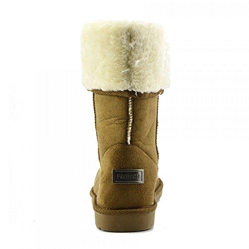Winter Ladies Chestnut Shoes Boots Footwear MID Warm Sheepskin Grip Fur Calf Sole Kick Faux Womens Snow Nina gZFxgw
