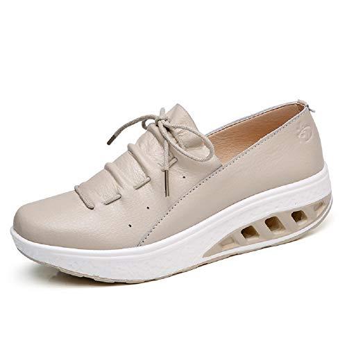 Qiusa Zapatos de Mujer de Gran tamaño Zapatos Deportivos de Cuero Suave de Rocker Sole Soft Walking (Color : Plata, tamaño : EU 38) Beige
