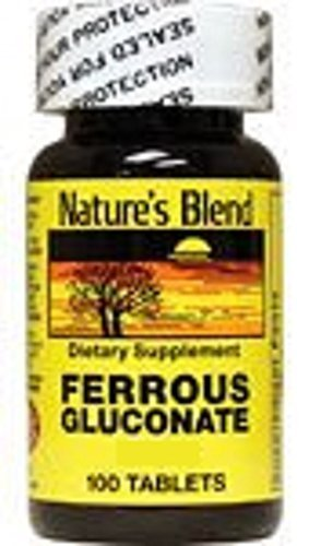 Nature`s Blend Ferrous Gluconate Tablets 325 mg 100 Count (2 Pack) by NATIONAL VITAMIN COMPANY INC