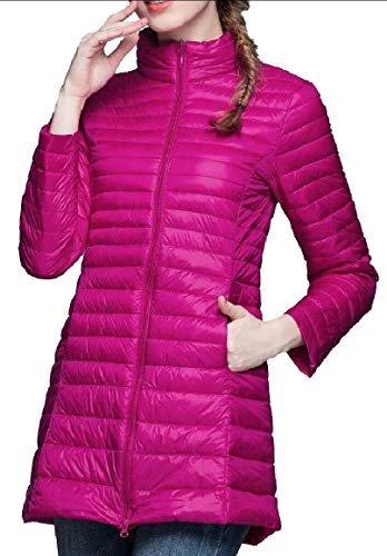 security Womens Lightweight Solid Stand Collar Long Sleeve Long Down Jacket 1