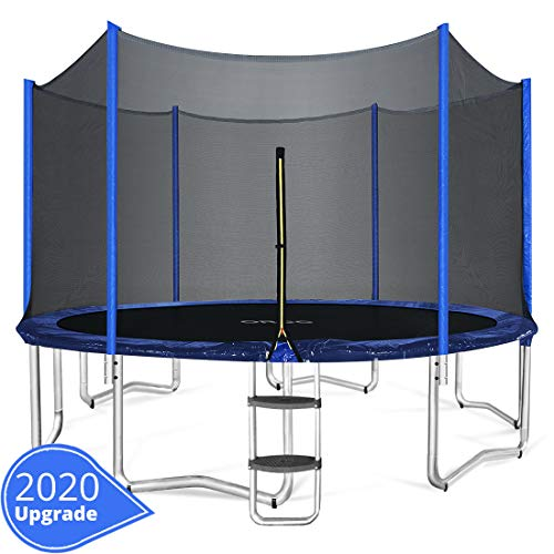 (ORCC 15 14 12 10FT Kids Trampoline, TÜV Certificated Yard Trampoline with Enclosure Net Jumping Mat Spring Pad Wind Stakes Rain Cover and Pull T-Hook,Including All Accessories)