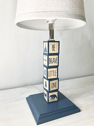 Woodland Nursery Lamp/ Wooden Blocks/ Navy (Wooden Nursery Lamp)