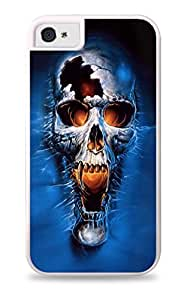 Creepy Glowing Skull Art White 2-in-1 Protective Case with Silicone Insert for Apple iPhone 4 / 4S