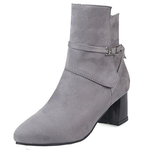 COOLCEPT Ladies Casual Block Med Heels Booties Zipper Ankle Boots Gray yaJM3l