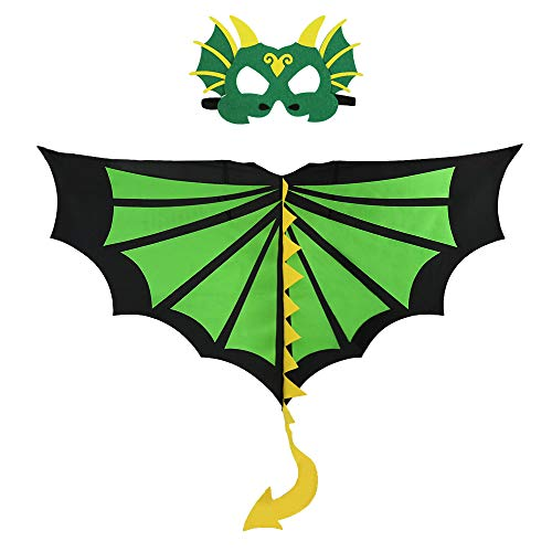 Toddler Kids Dinosaur Wings and Felt Mask Costume for Boys Girls Dinosaur Dress Up Party Favor Gifts (# -