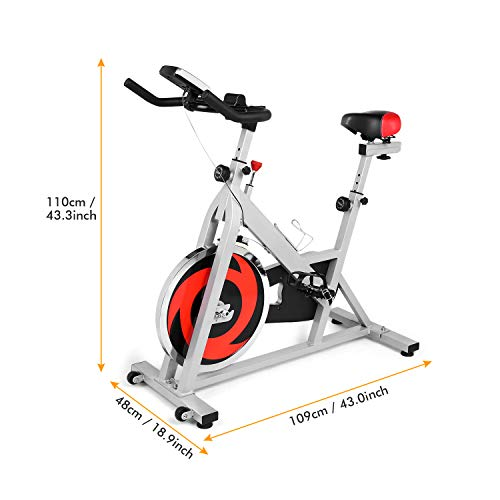ANCHEER Stationary Bike, Indoor Cycling Exercise Bike 40 LBS Flywheel (Sliver_NO Pulse) by ANCHEER (Image #6)