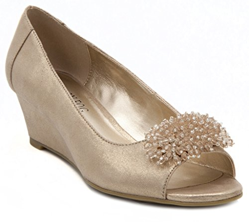 London Fog Womens Adele Open Toe Dress Wedge Champagne 9 M US (Champagne Wedge Sandals)