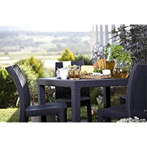 Keter Quartet 4 Seater Rattan Patio Outdoor Garden Furniture Dining Table – Graphite