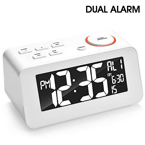 Alarm Clock Radio, FM Digital Radio Clock with Dual Alarms, Dual USB Charge Port, Snooze Time 5-60mins, 6''LED Display, Adjustable Brightness, Sleep Timer, 12/24H,5.9ft Cord Battery Back Bedroom Clock