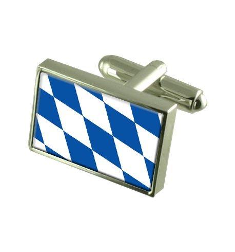 État libre de Bavière Boutons de manchette drapeau avec boîte de souvenir gravé