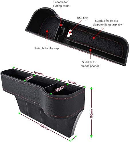 Organizador de asiento de coche, caja de almacenamiento de asiento de piel sintética para asiento de coche, relleno de hueco, para teléfono móvil, monedero de llaves (2 unidades)