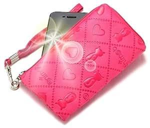 """""""Animate"""" Rosado Oscuro, Lujosa Billetera / Sostenedor en imitación de cuero acolchonado y con cierre para LG LU2300. Auténtica Funda / Estuche con correa para transportar para teléfonos móviles."""