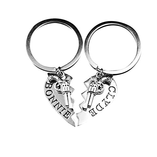 Art Attack Thelma & Louise Bonnie & Clyde Gun Revolver BFF Best Friends Broken Heart Partners in Crime Bandit Bag Charm Pendant Keychain (Bonnie & Clyde)