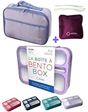 Bento-Box with Bag and Ice Pack Set. Lunch Boxes Snack Containers for Kids Boys Girls Adults. 6 Compartments, Leakproof Portion Container Boxes Insulated Bags for School Lunches, BPA Free, Purple