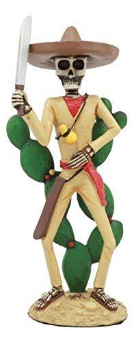 Ebros Day Of The Dead Skeleton El Machete Nopales Figurine Cactus Poncho Desert Bandit Skeleton Statue 7