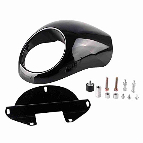 JX-Trading Fork Mount Cover Front Headlight Head lamp Headlight Fairing Cowl Visor Bracket Set Fit Harley Sportster Dyna Glide FX XL Black