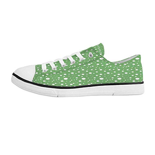 Green Comfortable Low Top Canvas Shoes,Painters Wall Inspired Big Rounds Spots on a Vivid Backdrop Modern Image for Men Boys,US ()
