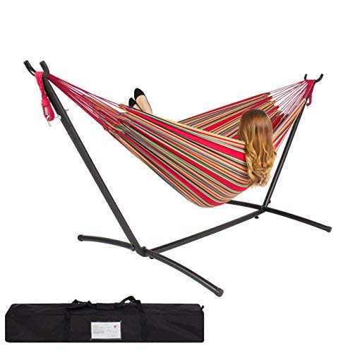Best Choice Products Portable Indoor Outdoor 2-Person Cotton Double Hammock Set w/Steel Stand and Storage Case, Red Stripes