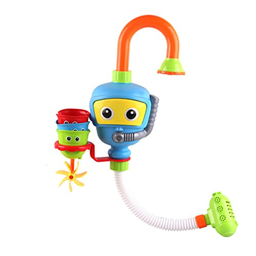Diver Shower Spout Bath Toy, Spray Station Bathtub Manual Pump Water with 3 Stackable Cups - NO Batteries No Power (Creative Writing Flip Chart)