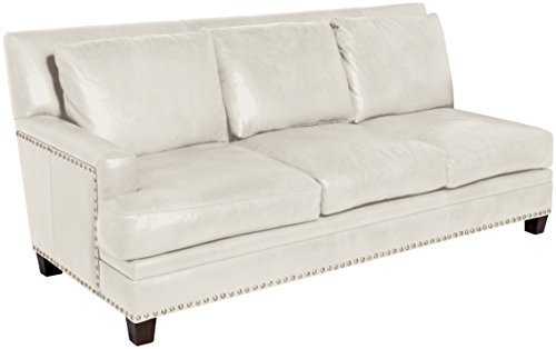 Omnia Leather Glendora Left Arm 3 Cushion Sofa in Leather, with Nail Head, Softstations Bianco