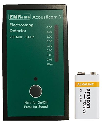 Acousticom 2 Pocket-Sized EMF Meter with BONUS Battery and Case by EMFields | Find EMR Hot Spots |Easy One-Button Operation|Widest Spectrum 0.2-8.0GHz|Measure Peak/Average RF Exposure|Built-in Speaker