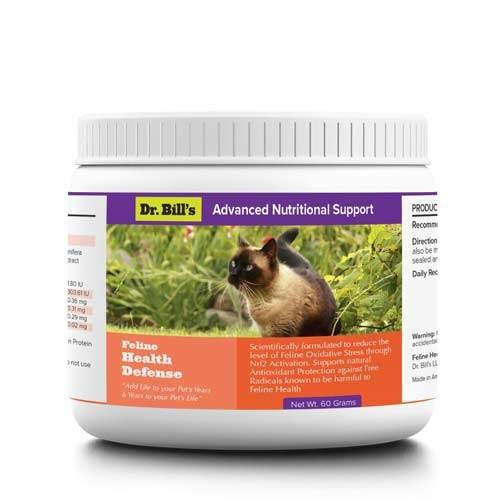 Dr. Bill's Feline Health Defense Pet Supplement - Antioxident Powder for Cats, with Turmeric, Ashwagandha, and Vitamin C Pet Supplements Powder