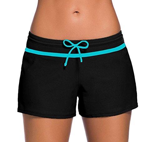 Sythyee Women's Swim Boardshorts Tankini Boyshorts Beach Bottom Swimsuit Built In Briefs Black & Blue Size - Shorts Ladies Wetsuit
