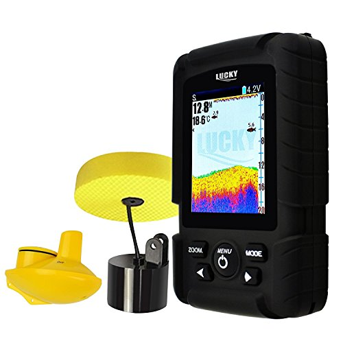 2 In 1 Lucky Fishfinder Wireless  6M Wired Sensor English  Russian Menu 100M Depth  590Ft  180M Wireless Coverage Monitor Rechargeable Battery 100  Waterproof Design