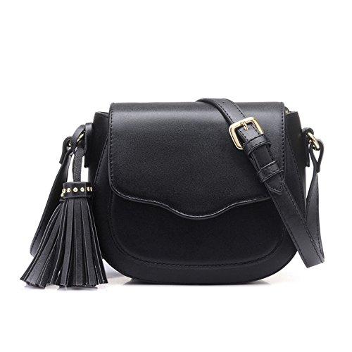 Mini Señoras Flip Hombro Black PU Classic Fringe Pequeño Simple Messenger Bag Bag Retro Bolso rrxFqw