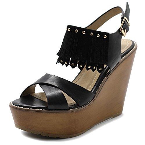 Ollio Womens Shoe Burnish Vintage Faded Fringe Wedge Heel Sandal FT01(8 B(M) US, Black) (Sandal Wood Wedge)