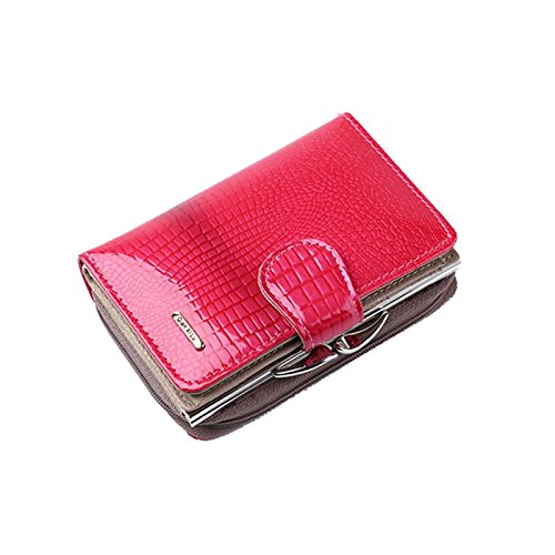 Vin beauty Corto De las mujeres Real Leather Patent Bifold embrague chequera Monedero de monedero de la caja del moneder #4