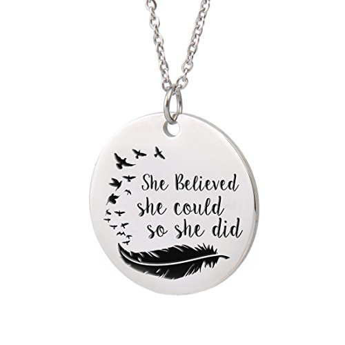 Aoloshow Inspirational Best Friends Words Necklace Friendship Pendant Charm Gift -She Believed she Could so she did (Graduation Inspirational Words)