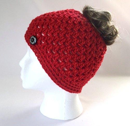 Handmade Messy Bun Hat Bright Red Beanie Wood Button Ponytail Holder Crochet Cloche