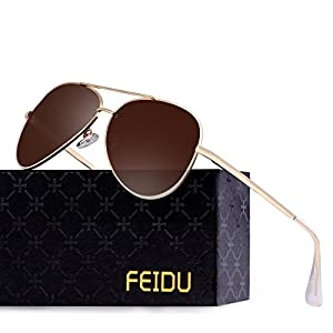 FEIDU Polarized Aviator Sunglasses for Men Driver Sun Glasses Unisex FD9009(Brown/Gold)