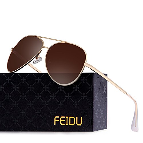 Polarized Aviator Sunglasses for Men - FEIDU Metal Frame Sports UV 400 Protection Mens Unisex Sunglasses FD9009 (Brown/Gold)