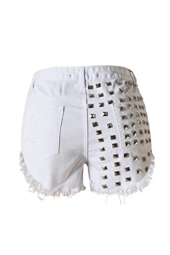 Mujer arrancó del dril de algodón pantalones vaqueros cortos White